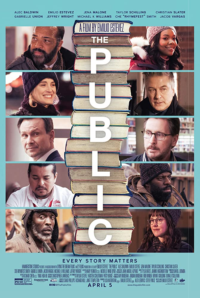 Christian Slater, Alec Baldwin, Emilio Estevez, Gabrielle Union, Jacob Vargas, Michael Kenneth Williams, and Jeffrey Wright in The Public (2018)
