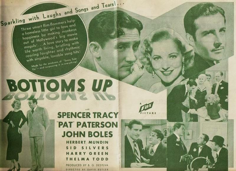 Spencer Tracy, John Boles, Harry Green, Herbert Mundin, Robert Emmett O'Connor, Pat Paterson, Sid Silvers, and Thelma Todd in Bottoms Up (1934)