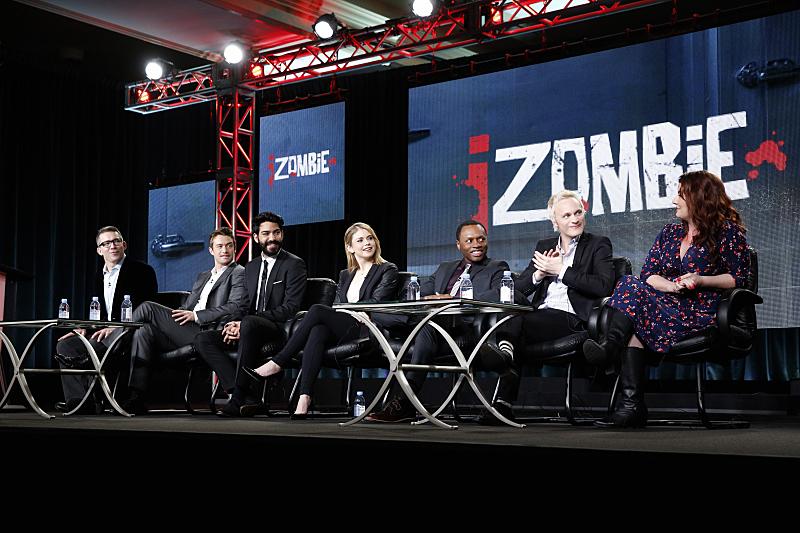Robert Buckley, Malcolm Goodwin, Rose McIver, David Anders, and Rahul Kohli in iZombie (2015)