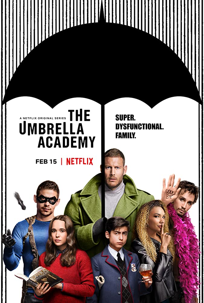 Ellen Page, Robert Sheehan, Tom Hopper, David Castañeda, Aidan Gallagher, and Emmy Raver-Lampman in The Umbrella Academy (2019)