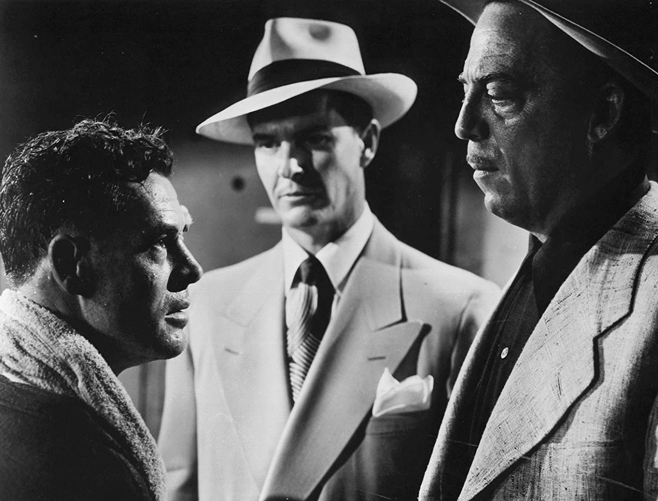 Alan Baxter, Edwin Max, and Robert Ryan in The Set-Up (1949)