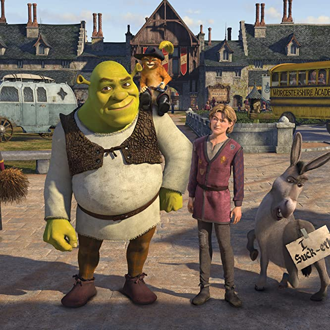 Antonio Banderas, Mike Myers, Eddie Murphy, and Justin Timberlake in Shrek the Third (2007)