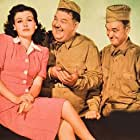 Oliver Hardy, Stan Laurel, and Sheila Ryan at an event for Great Guns (1941)
