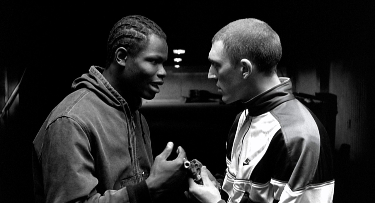 Vincent Cassel and Hubert Koundé in La haine (1995)
