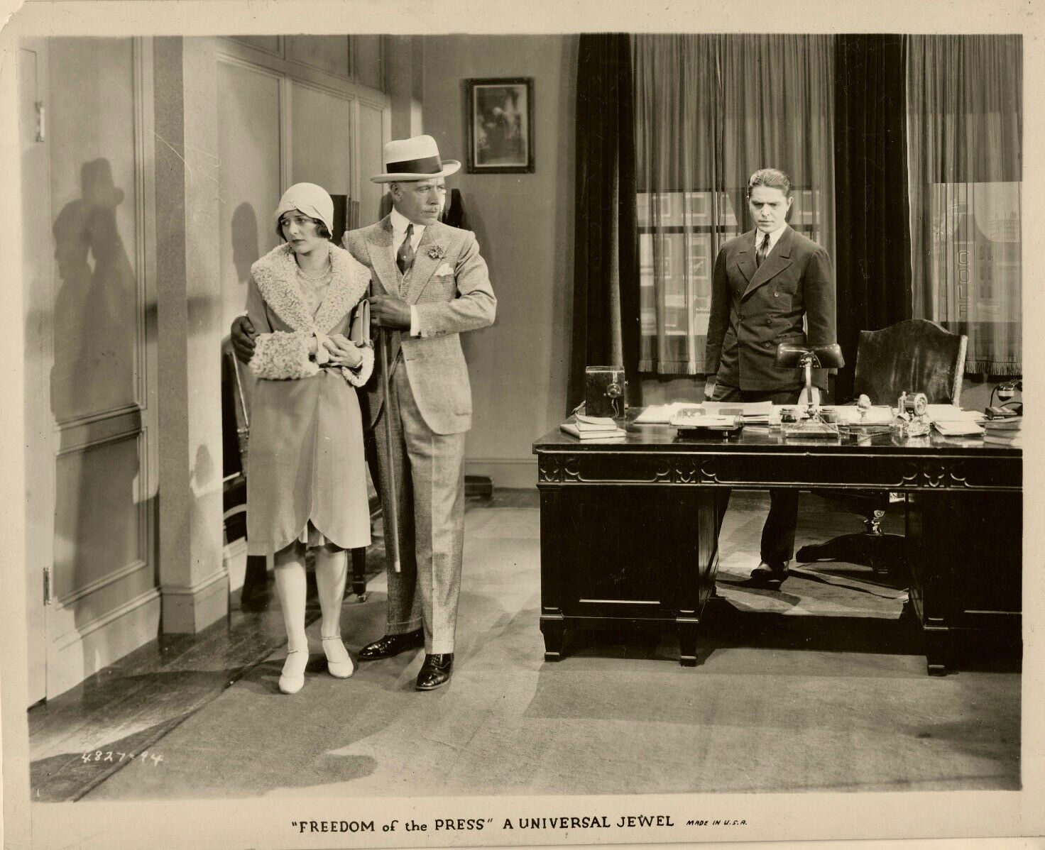 Marceline Day, Malcolm McGregor, and Lewis Stone in Freedom of the Press (1928)