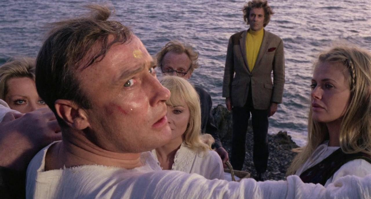 Christopher Lee, Britt Ekland, Diane Cilento, Ingrid Pitt, and Edward Woodward in The Wicker Man (1973)