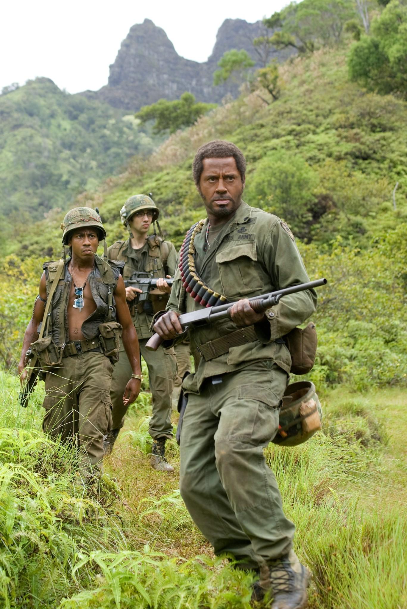 Robert Downey Jr., Jay Baruchel, and Brandon T. Jackson in Tropic Thunder (2008)