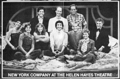 """Torch Song Trilogy"" - Original Broadway Cast - Front row left to right: Susan Edwards, Fisher Stevens, Diane Tarleton, David Garrison, Paul Joynt, Estelle Getty, Ned Levy - Back row left to right: Jonathan Hadary, Court Miller, Peter Ratray."