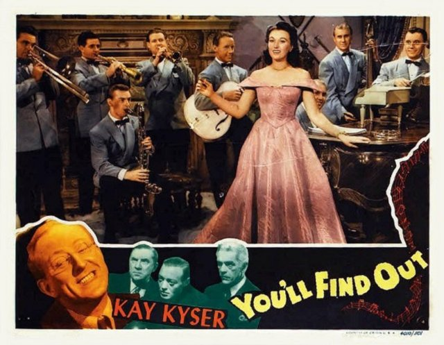 Harry Babbitt, M.A. Bogue, Sully Mason, Ginny Simms, Kay Kyser Band, and Lyman Gandee in You'll Find Out (1940)