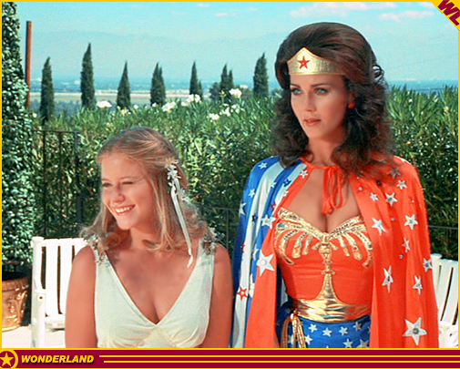 Eve Plumb and Lynda Carter in Wonder Woman (1975)