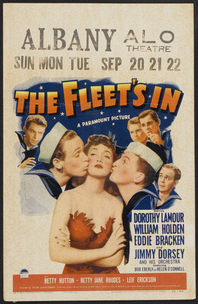 William Holden, Harry Barris, Eddie Bracken, Jack Chapin, Gil Lamb, and Dorothy Lamour in The Fleet's In (1942)