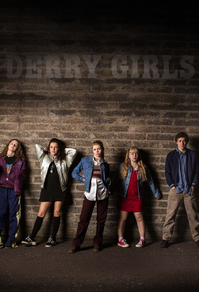 Nicola Coughlan, Dylan Llewellyn, Louisa Harland, Jamie-Lee O'Donnell, and Saoirse-Monica Jackson in Derry Girls (2018)