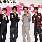 Yusuke Kamiji, Ryûta Satô, Yûji Ayabe, and Hiroshi Shinagawa at an event for Manzai gyangu (2011)