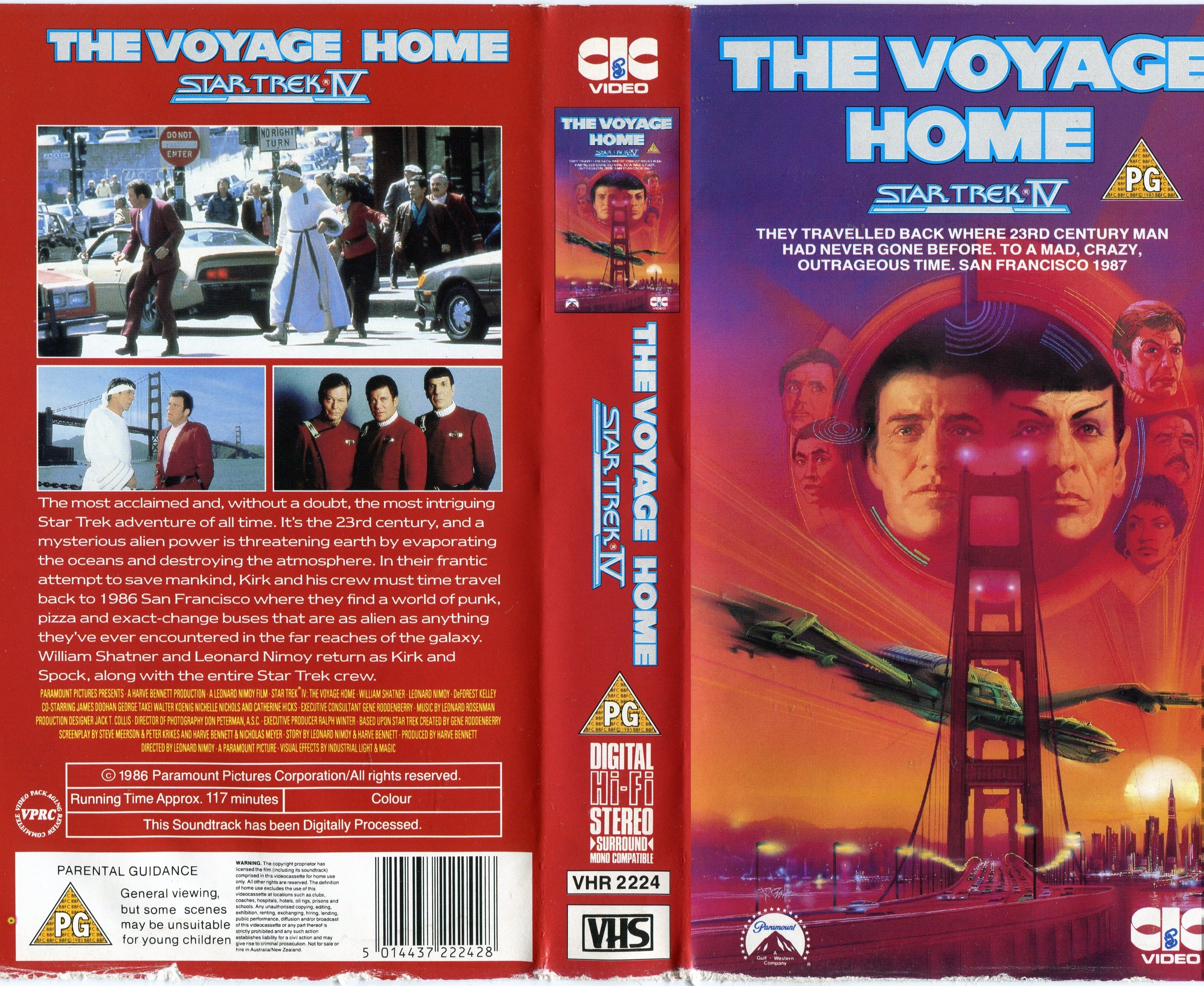 Leonard Nimoy, William Shatner, DeForest Kelley, and Nichelle Nichols in Star Trek IV: The Voyage Home (1986)