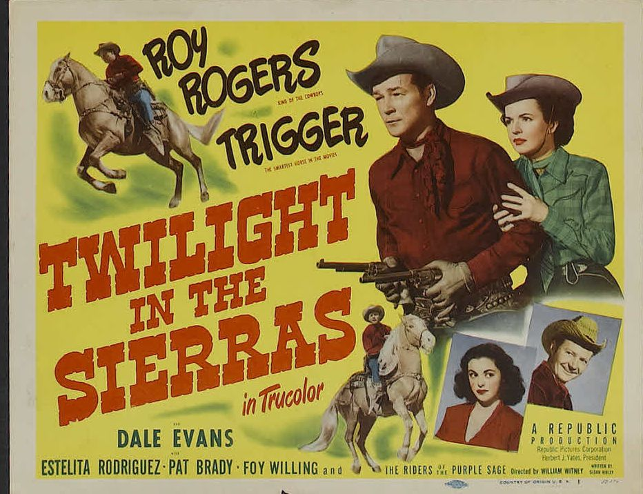 Roy Rogers, Pat Brady, Dale Evans, Estelita Rodriguez, and Trigger in Twilight in the Sierras (1950)
