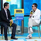 Antonio Banderas and Dave Karger at an event for Dolor y gloria (2019)
