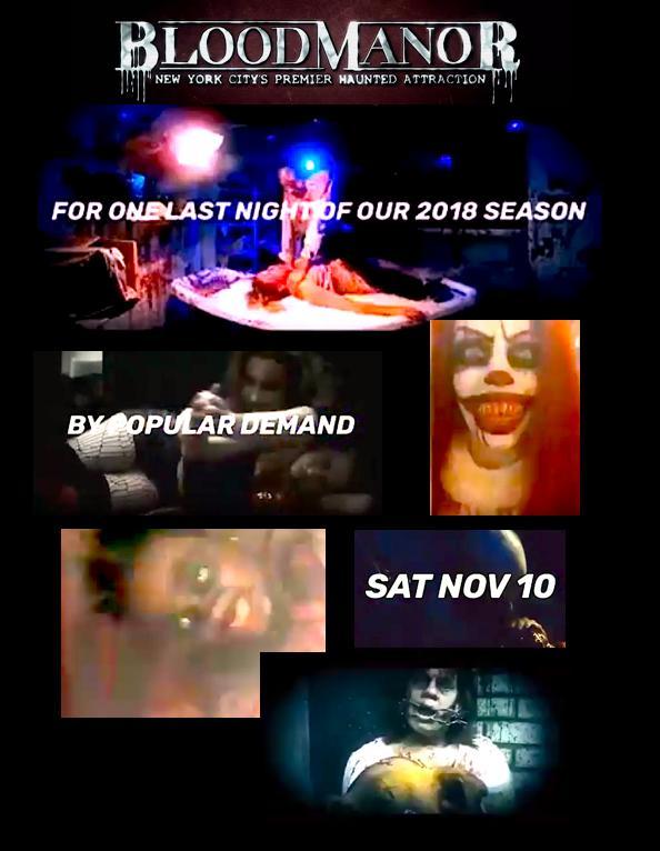 Blood Manor 2018 NYC: Saturday, November 10th! 2018