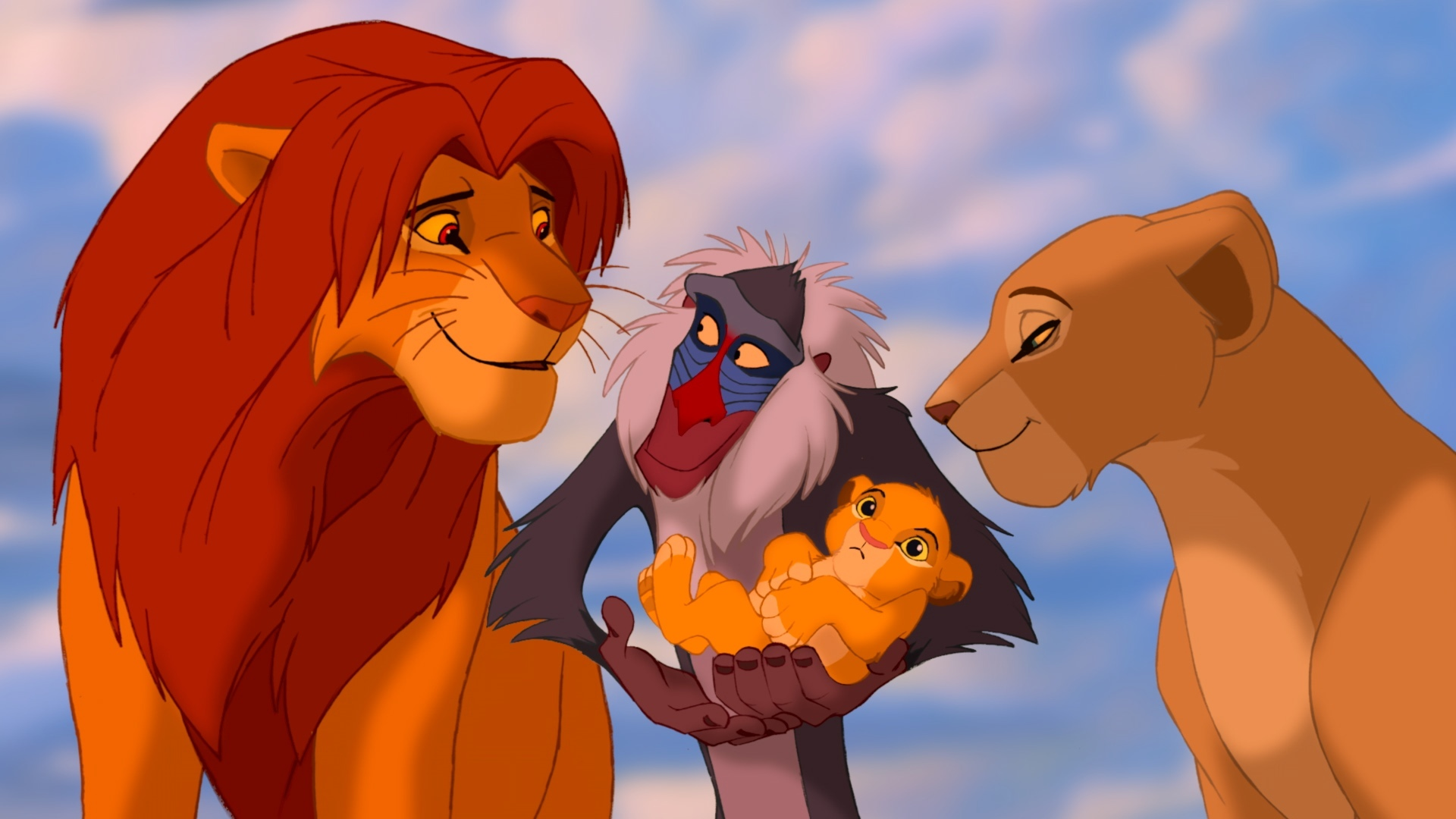 Matthew Broderick, Sally Dworsky, Robert Guillaume, Moira Kelly, and Joseph Williams in The Lion King (1994)