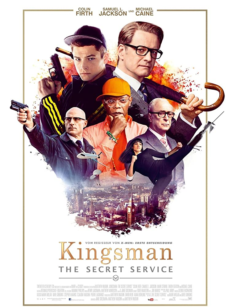 Colin Firth, Samuel L. Jackson, Michael Caine, Mark Strong, Sofia Boutella, and Taron Egerton in Kingsman: The Secret Service (2014)