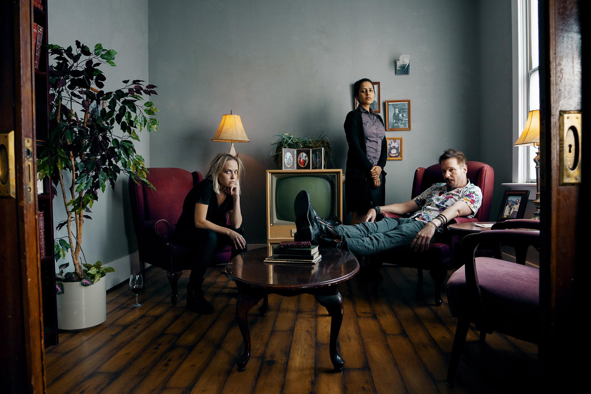 Michael Eklund, Agam Darshi, and Siobhan Williams in Bright Hill Road (2020)