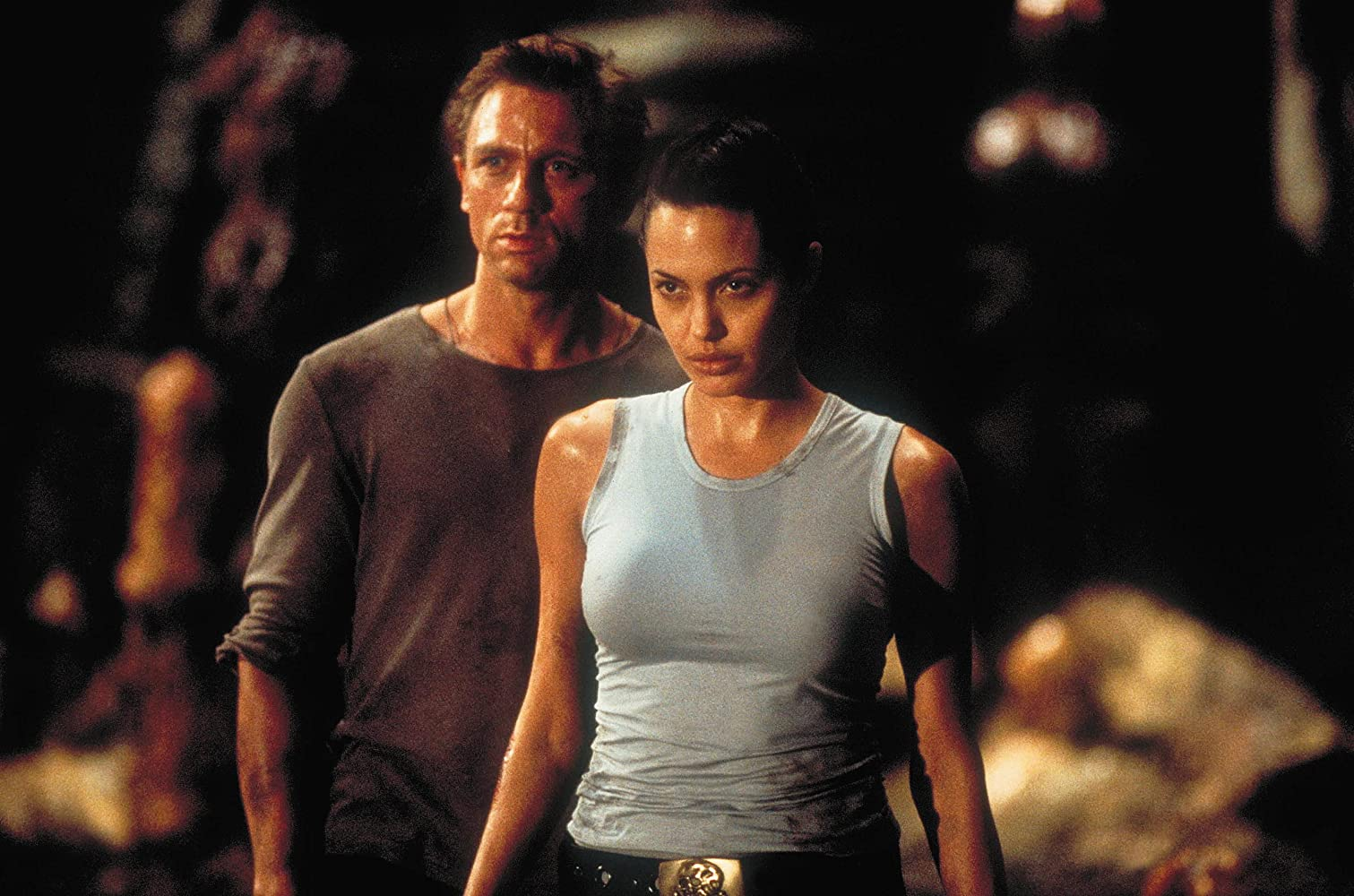 Angelina Jolie and Daniel Craig in Lara Croft: Tomb Raider (2001)