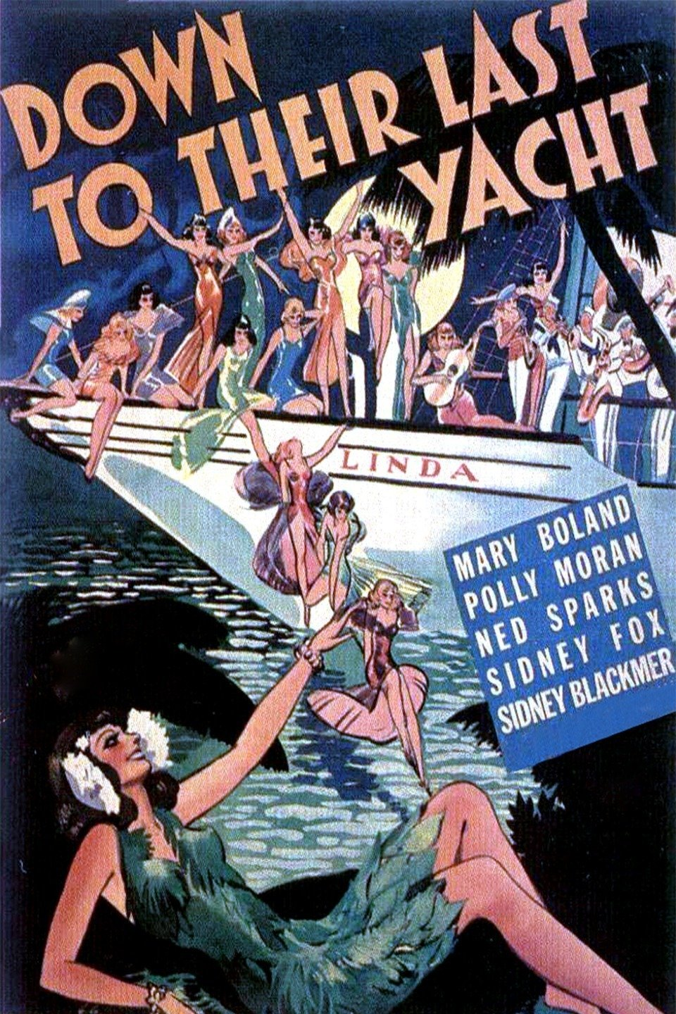 Sidney Blackmer, Mary Boland, Sidney Fox, Polly Moran, and Ned Sparks in Down to Their Last Yacht (1934)