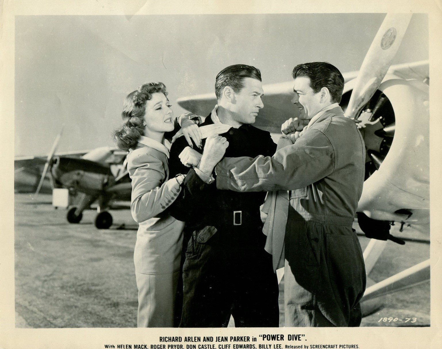 Richard Arlen, Don Castle, and Jean Parker in Power Dive (1941)