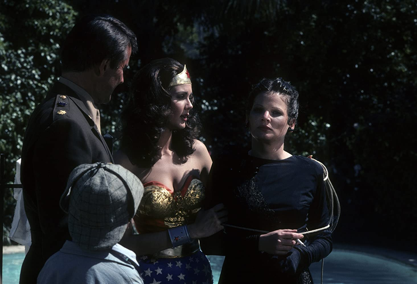 Lynda Carter, Christine Belford, and Lyle Waggoner in Wonder Woman (1975)