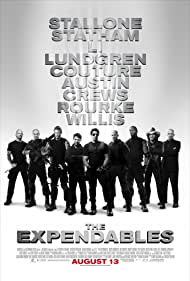 Dolph Lundgren, Sylvester Stallone, Bruce Willis, Mickey Rourke, Jet Li, Jason Statham, Steve Austin, Terry Crews, and Randy Couture in The Expendables (2010)