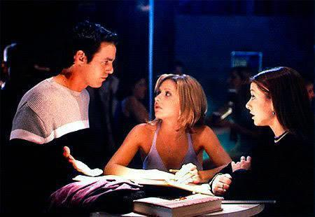 Sarah Michelle Gellar, Alyson Hannigan, and Nicholas Brendon in Buffy the Vampire Slayer (1996)