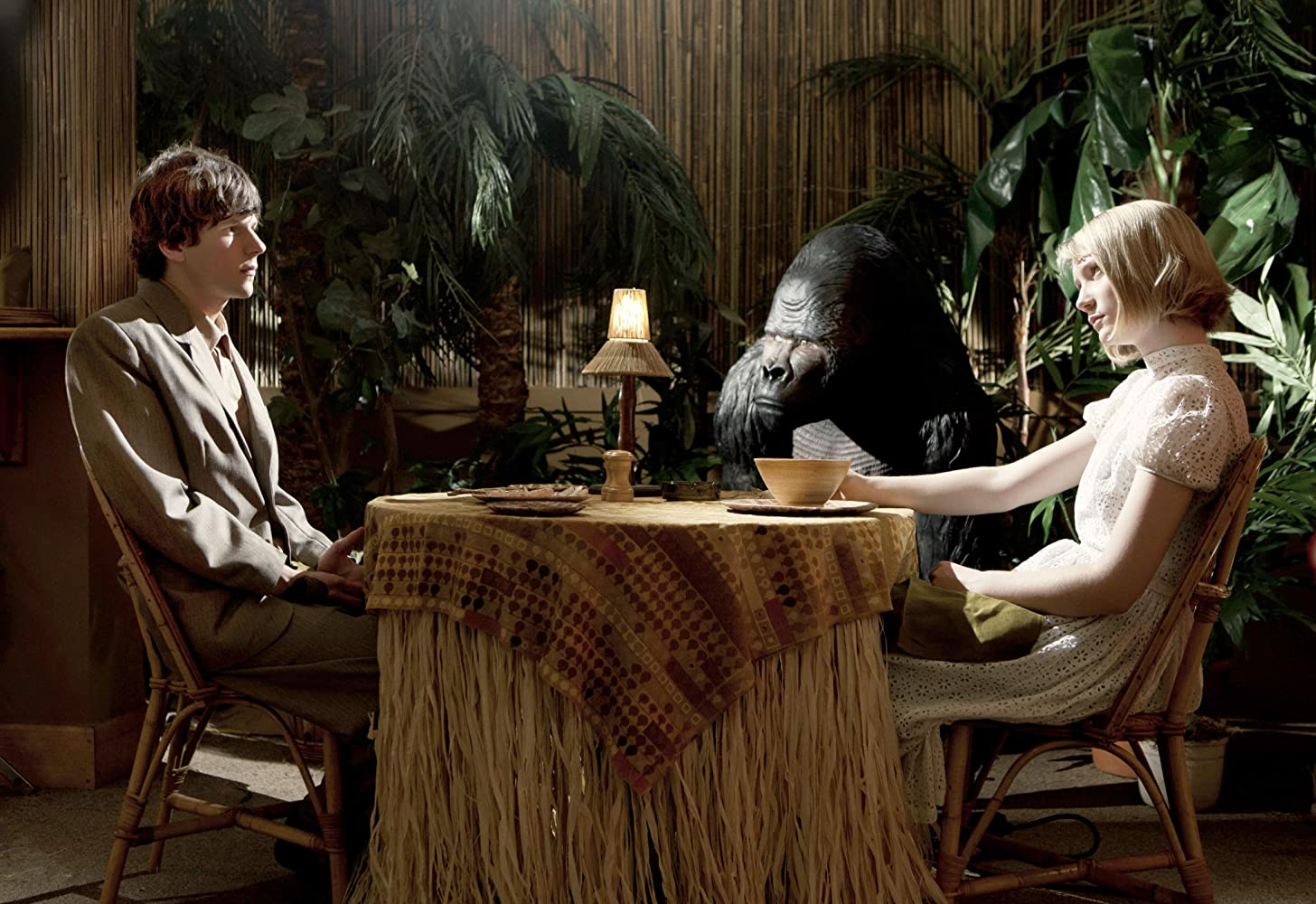 Jesse Eisenberg and Mia Wasikowska in The Double (2013)
