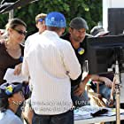 """Troy directed with his crew on the set, """"No Ordinary Hero: The SuperDeafy Movie"""""""