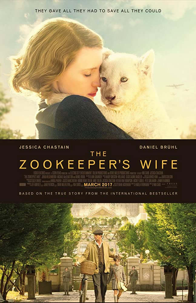 Johan Heldenbergh, Jessica Chastain, and Timothy Radford in The Zookeeper's Wife (2017)