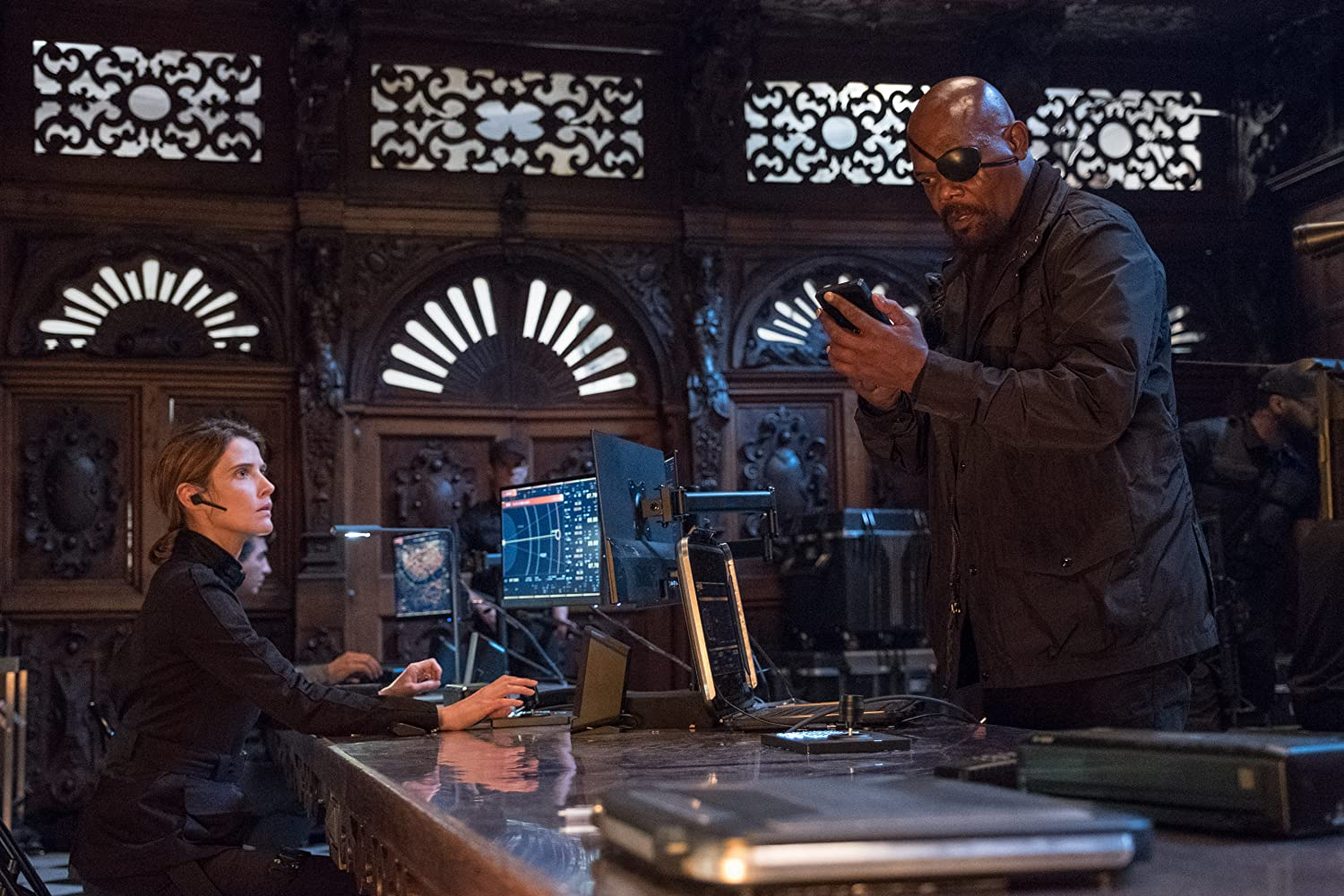 Samuel L. Jackson and Cobie Smulders in Spider-Man: Far from Home (2019)