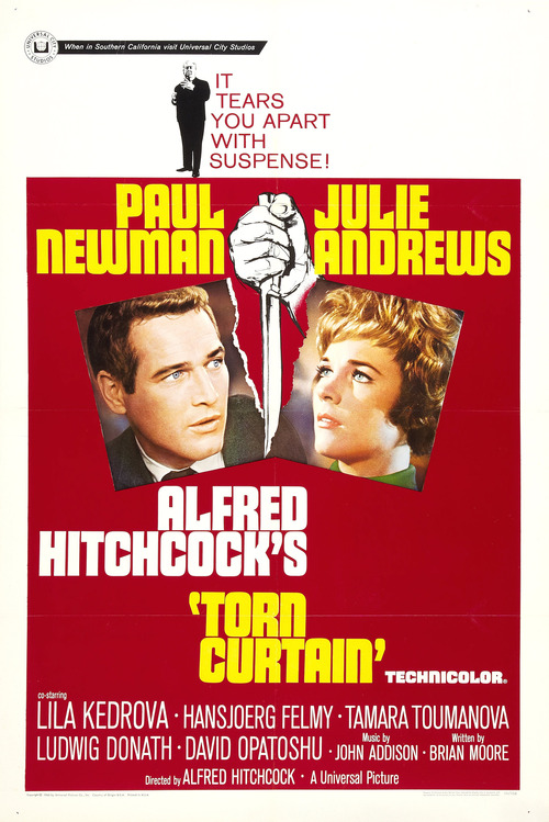 Alfred Hitchcock, Paul Newman ve Julie Andrews, Torn Curtain'de (1966)