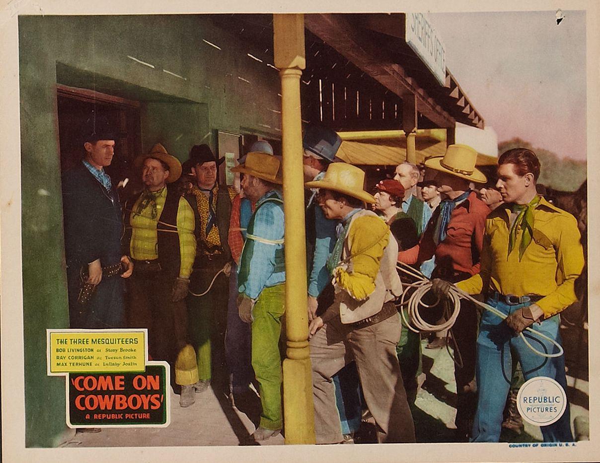 George Burton, Ray Corrigan, Jack Kirk, Robert Livingston, George Plues, Rose Plumer, Al Taylor, and Max Terhune in Come on, Cowboys (1937)