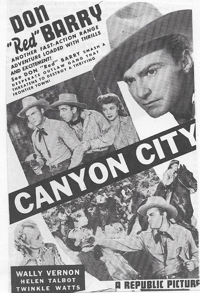 Don 'Red' Barry, LeRoy Mason, Helen Talbot, Wally Vernon, and Twinkle Watts in Canyon City (1943)