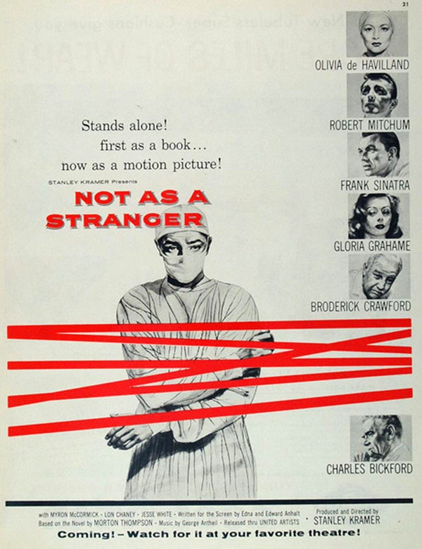 Olivia de Havilland, Robert Mitchum, Frank Sinatra, Broderick Crawford, and Gloria Grahame in Not as a Stranger (1955)