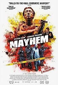 Caroline Chikezie, Dallas Roberts, Samara Weaving, and Steven Yeun in Mayhem (2017)