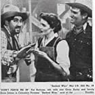Gene Autry, Pat Buttram, and Anne James in Barbed Wire (1952)