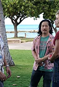 Jay Hernandez, Bobby Lee, and Perdita Weeks in A Game of Cat and Mouse (2020)