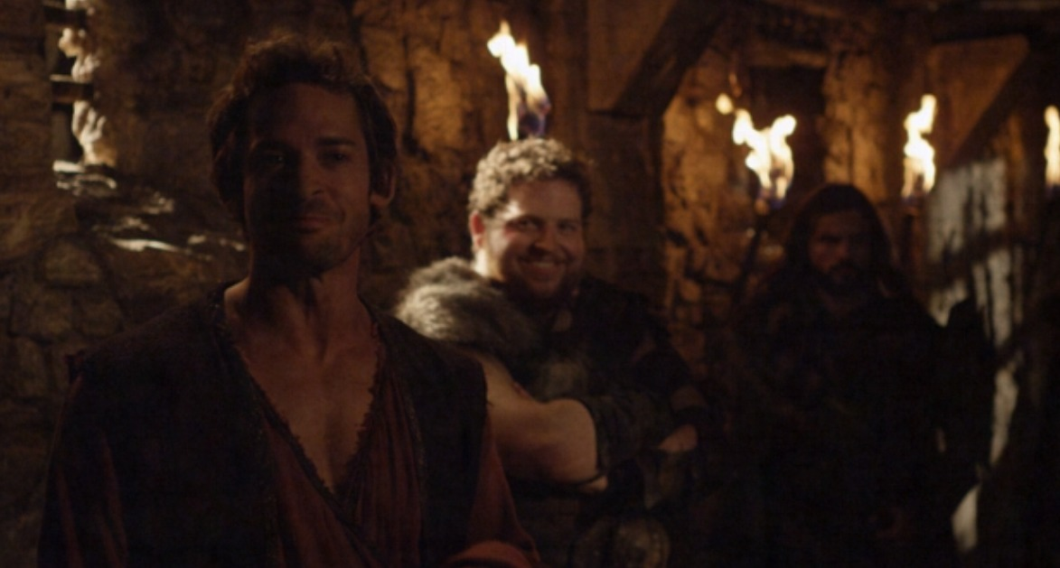 """From left to right: Will Kemp and Brandon Hardesty on the set of """"The Scorpion King: Quest for Power"""""""
