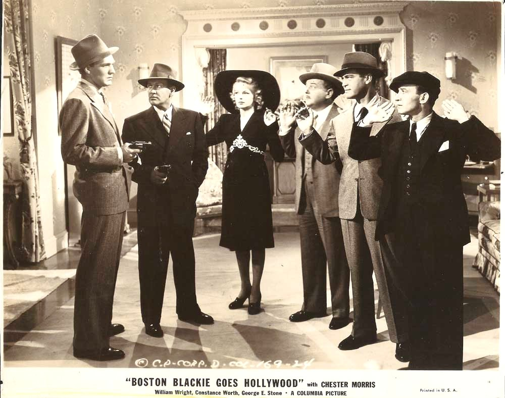 Lloyd Corrigan, Richard Lane, Chester Morris, George E. Stone, Forrest Tucker, and Constance Worth in Boston Blackie Goes Hollywood (1942)