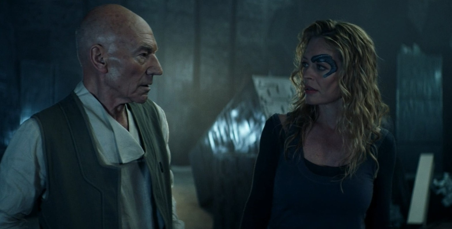Patrick Stewart and Jeri Ryan in Et in Arcadia Ego, Part 1 (2020)