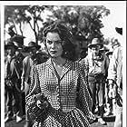 Walter Brennan, Joanne Dru, Dan White, and Chief Yowlachie in Red River (1948)