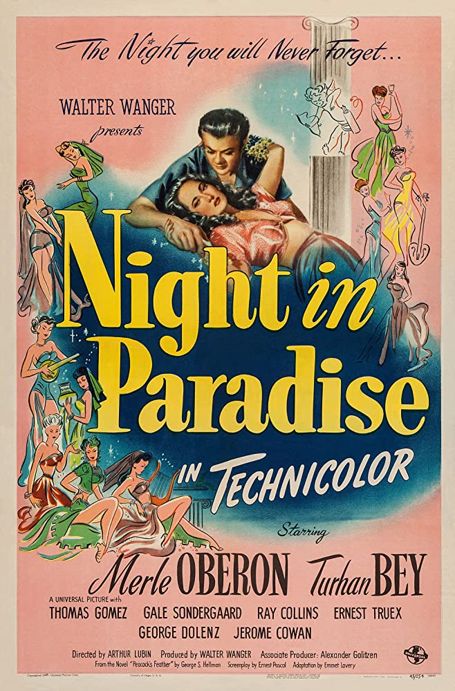 Turhan Bey and Merle Oberon in Night in Paradise (1946)