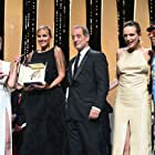 Sharon Stone, Spike Lee, Vincent Lindon, Julia Ducournau, and Agathe Rousselle at an event for Titane (2021)