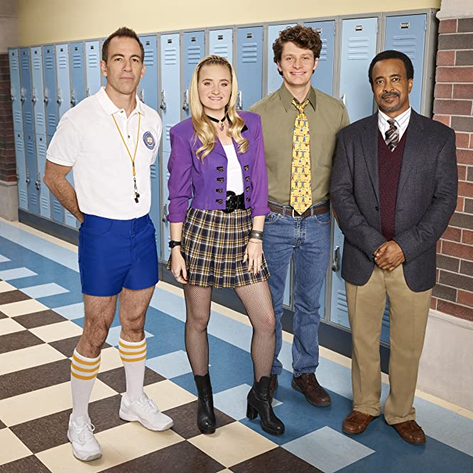 Tim Meadows, Bryan Callen, AJ Michalka, and Brett Dier in Schooled (2019)