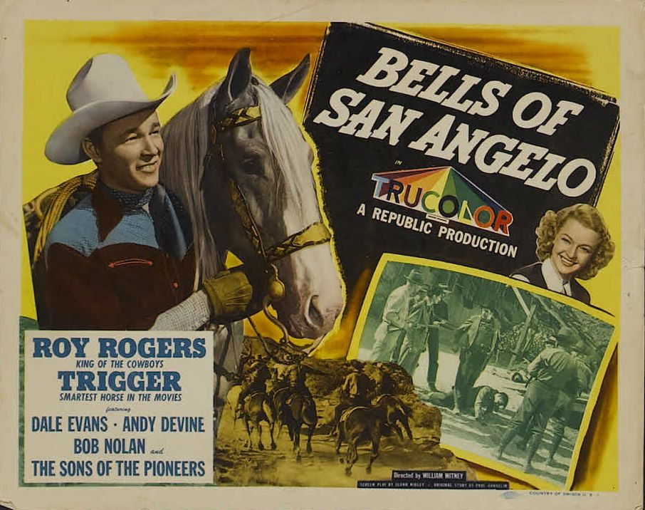 Roy Rogers, Dale Evans, and Trigger in Bells of San Angelo (1947)