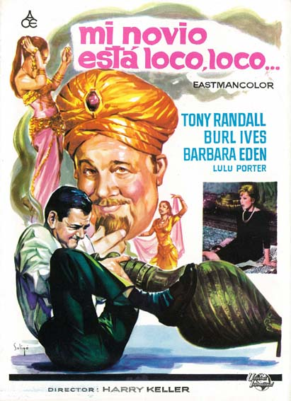 Barbara Eden, Kamala Devi, Burl Ives, and Tony Randall in The Brass Bottle (1964)